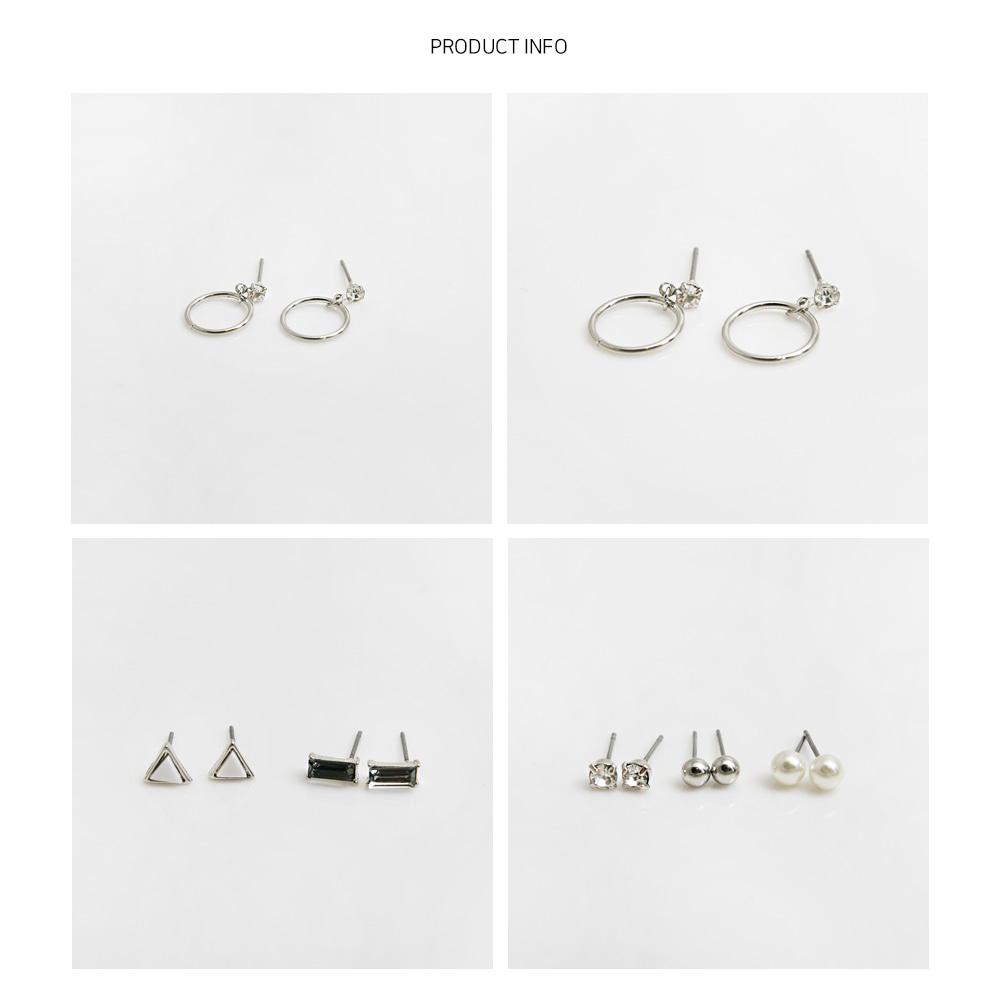 써클드롭 도형 6종 세트 귀걸이_SET306 - 라이크로렐, 11,000원, 실버, 볼귀걸이